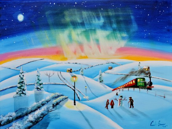 The northern lights winter painting