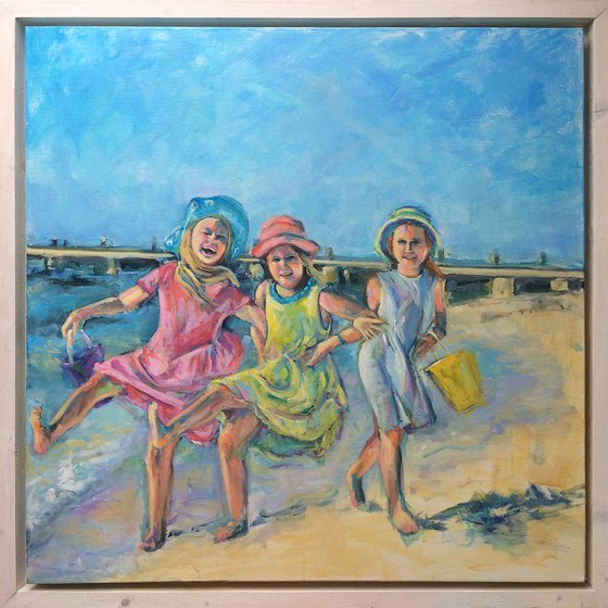 """Girls having fun on the beach"""