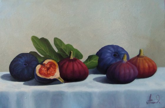Still life with fig-2 (20x30cm, oil painting, ready to hang)