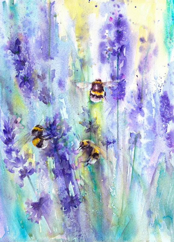 Three Bumblebees on lavender, an original watercolour painting