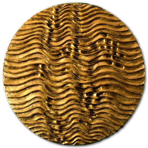 Round Erosion #01/10   Gold Wall Sculpture