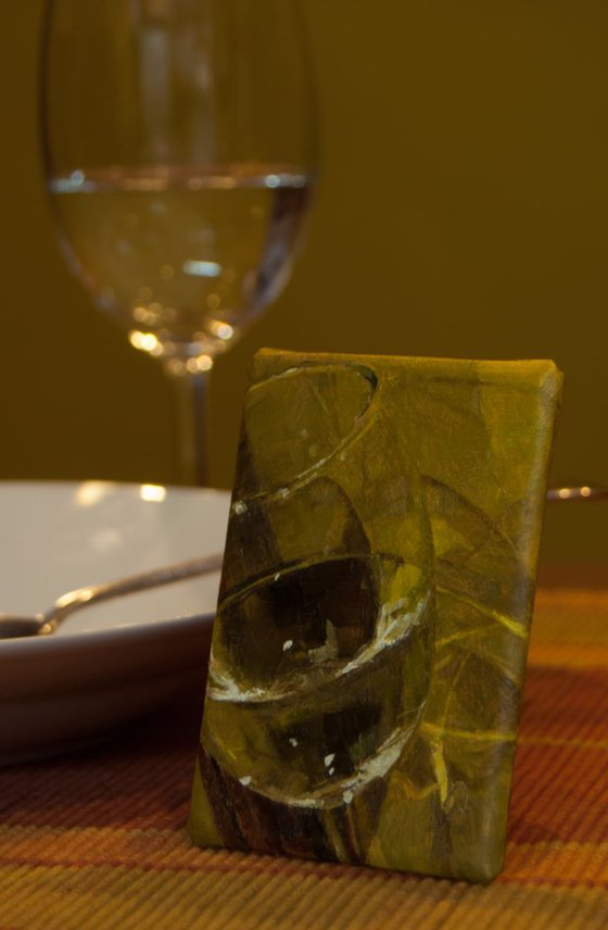 """Glass Reflections 3 Alla Prima Still Life Oil Painting / 2.5"""" × 3.5"""" / ACEO / miniature / wine / realism"""