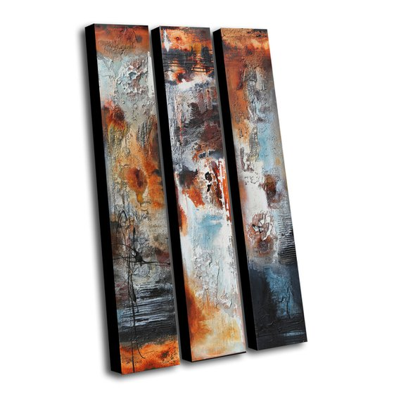 ABSTRACT TRIPTYCH  * 120 x 60 cms -  ABSTRACT PAINTING *** READY TO HANG