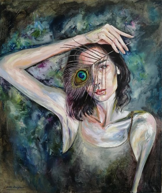 Do you really need a mask?   50*60 cm   self portrait with peacock feather