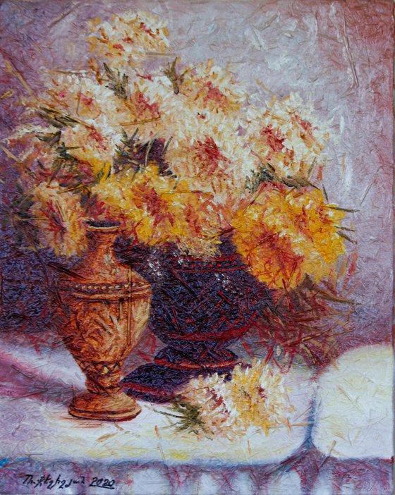 Chrysanthemum 40x50cm, oil painting, ready to hang