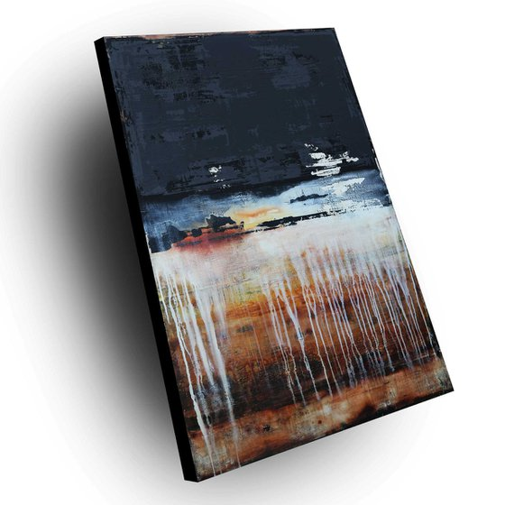 SAMHAIN - 120 X 80 CMS - ABSTRACT ACRYLIC PAINTING TEXTURED * RUST * ANTHRACITE