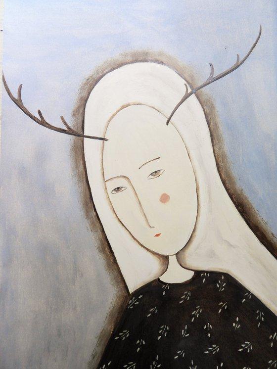 The Deer Woman - oil on paper