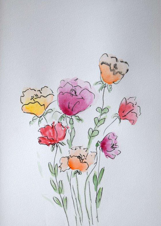 """""""Watercolour Flower's composition #8"""" 21 х 15 cm"""