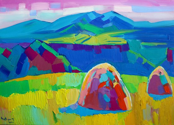 Field landscape-2 (50x70cm, oil painting, ready to hang)