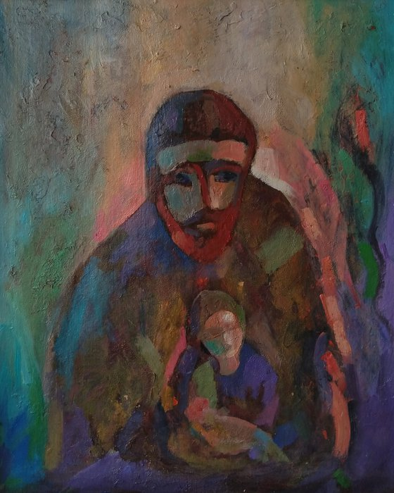 Grandson and grandfather (40x50cm, oil paper, ready to hang)
