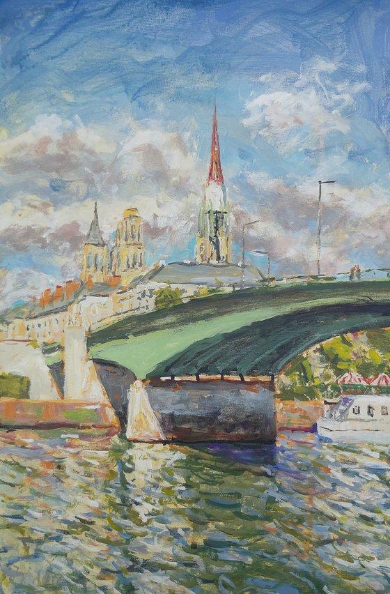 Rouen Bridge and church towers