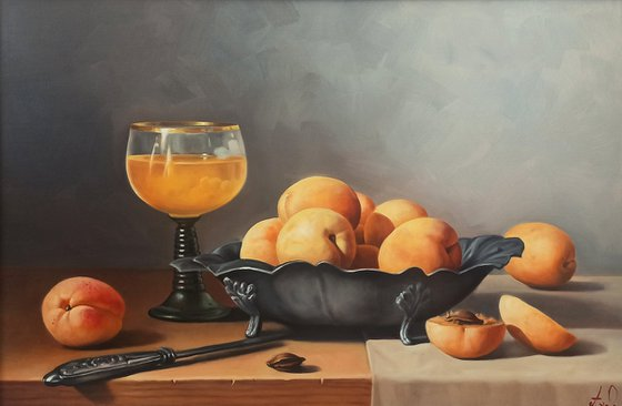 Still life with apricot (40x60cm, oil painting, ready to hang)