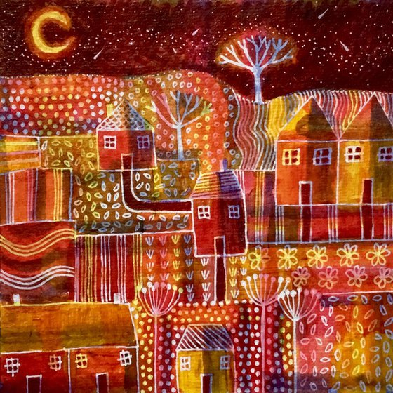 Moon Glow Avenue, small acrylic abstract painting