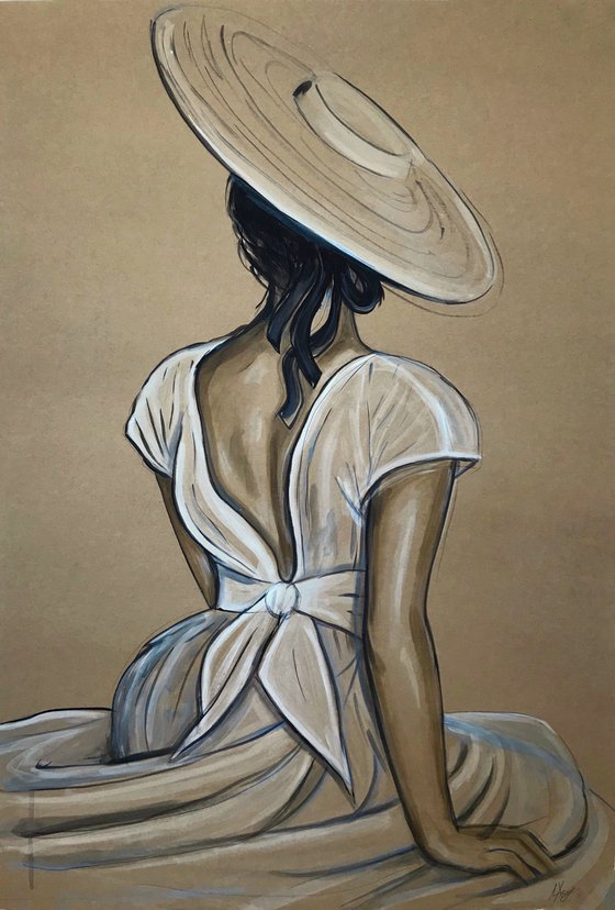 """""""Anna"""" woman painting from the back acrylic, watercolor"""