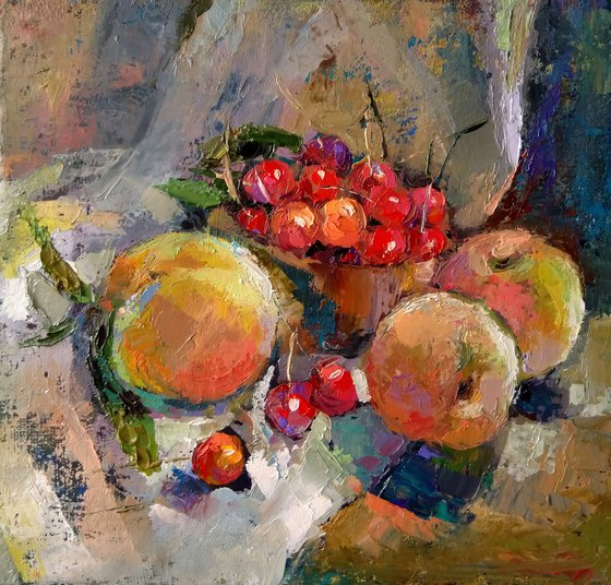 Still life - fruits  (27x28cm, oil painting, ready to hang)