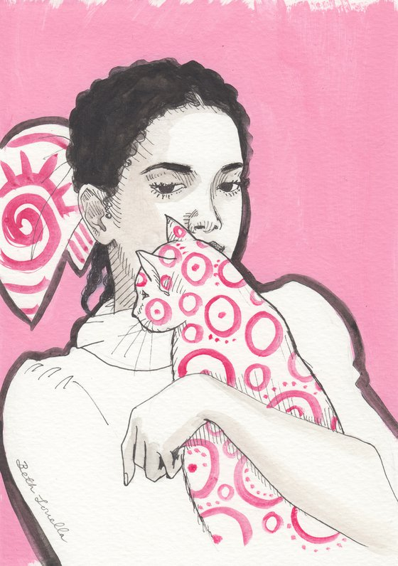 Girl With Patterned Cat Portrait Pink Study
