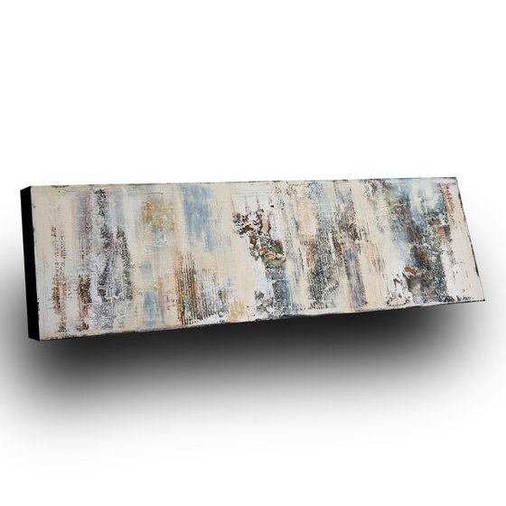 WALL FRAGMENTS * 150 x 50 cms * ACRYLIC PAINTING ON CANVAS * WHITE * SAND