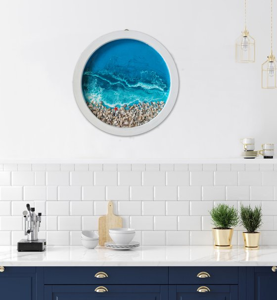 Porthole with sea view - original seascape 3d artwork, framed, ready to hang