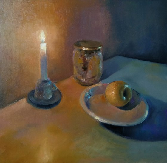 Still life-candle and apple (42x43cm, oil painting, ready to hang)