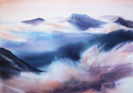 Scotland sunset mountains. 70*50 cm Isle of Skye - Abstract landscape