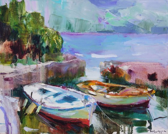 Boats. Morning in Montenegro. Original oil painting