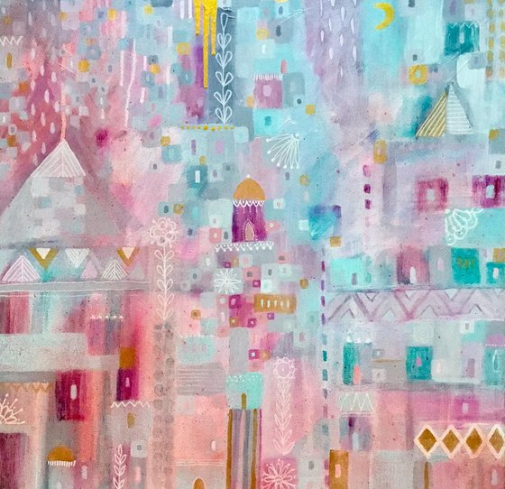 Abstract Painting, Geo Abstract City, large Canvas