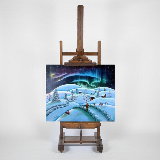 Winter folk art landscape painting