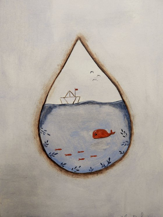 The sea inside the raindrop - oil on paper