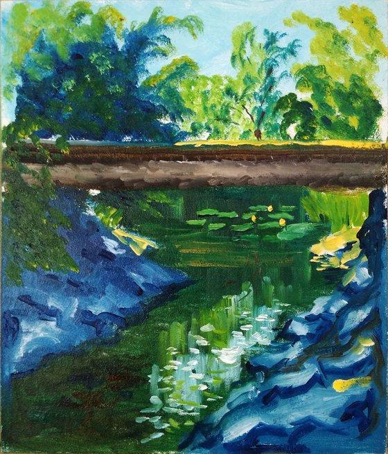 Creek with water lilies under the bridge. Pleinair painting