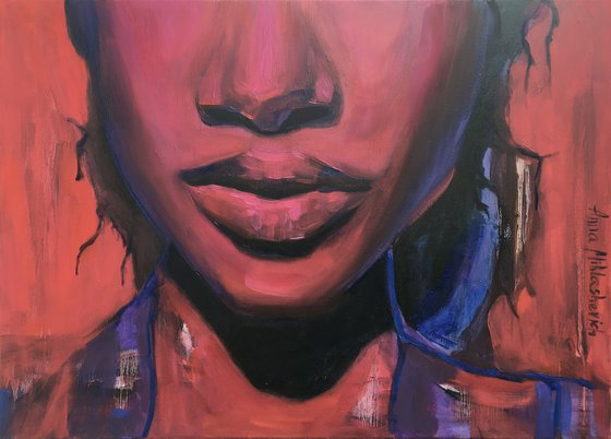 FLOW - Black woman wall art, African female oil portrait painting