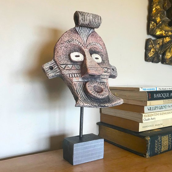Ceramic Mask Two on solid steel stand
