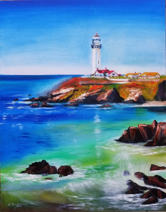 Lighthouse Landscape. Pigeon Point Lighthouse (California, USA). Original Oil Painting on Canvas. Spectacular Coastal Landscape with Blue Sky and Water Reflection.