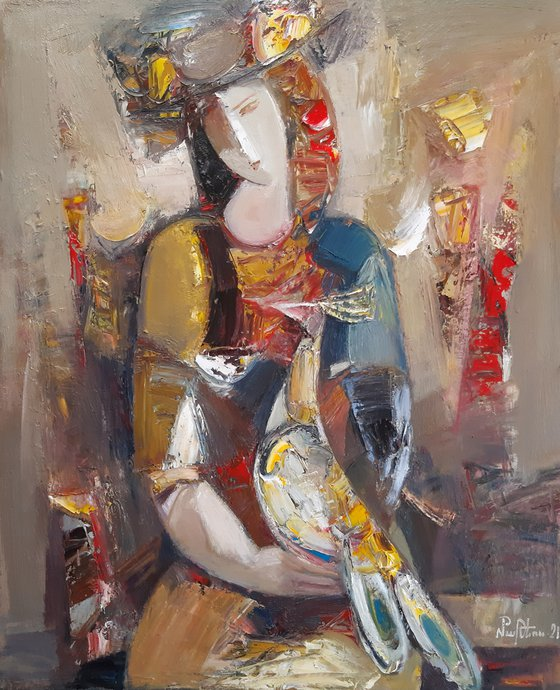 Girl with pheasant-2 (50x60cm, oil/canvas, ready to hang)