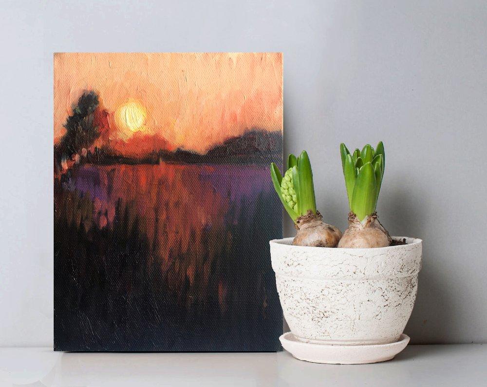 My Soul's Rest, original oil painting, landscape sunset painting, impressionist painting
