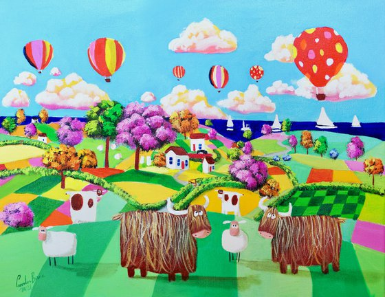 Two Highland cows, folk art painting
