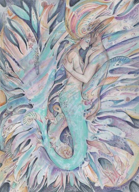 The Mermaids Dream watercolor romantic painting SALE