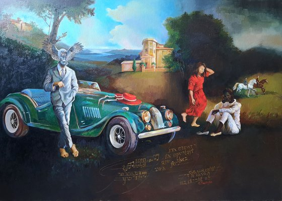 A fascinating modern dream with the green car in a Renaissance landscape