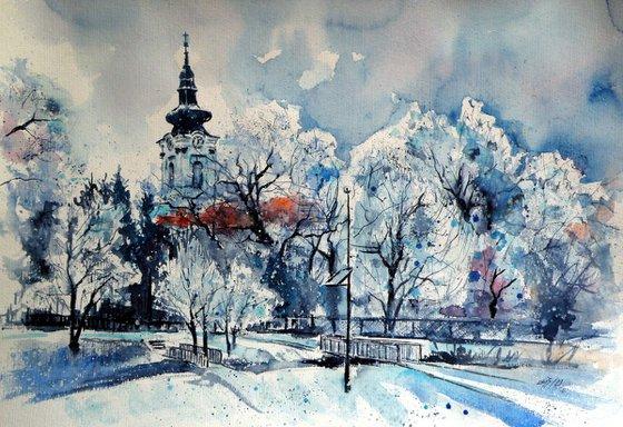 Winter in hometown  /35 x 50 cm/