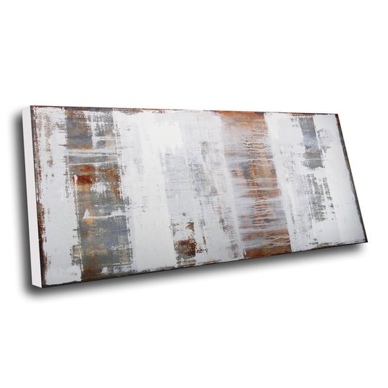 UNDEFINED PATHS - LARGE ABSTRACT PAINTING * OFF-WHITE * GREY * RUST
