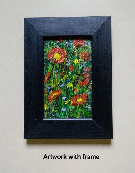 "Miniature Landscape painting Red flowers meadow, Miniature acrylic art   3""x 5"""