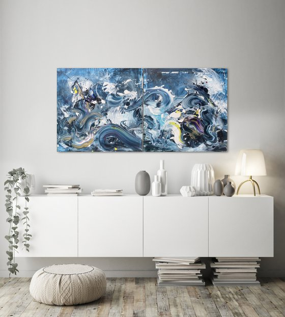Summer Breeze - Blue and gold Diptych
