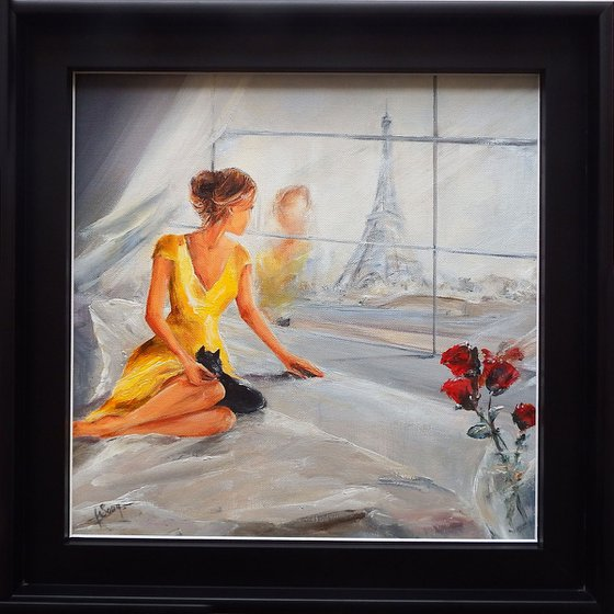 At her window, in Paris