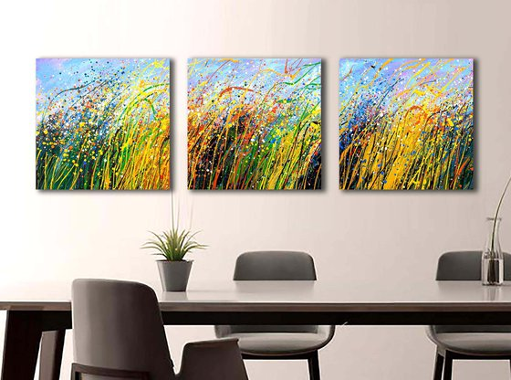 """Flower meadow Yellow blue landscape - READY TO HANG - Triptych 20"""" x 60"""" / 50 x 150 cm."""