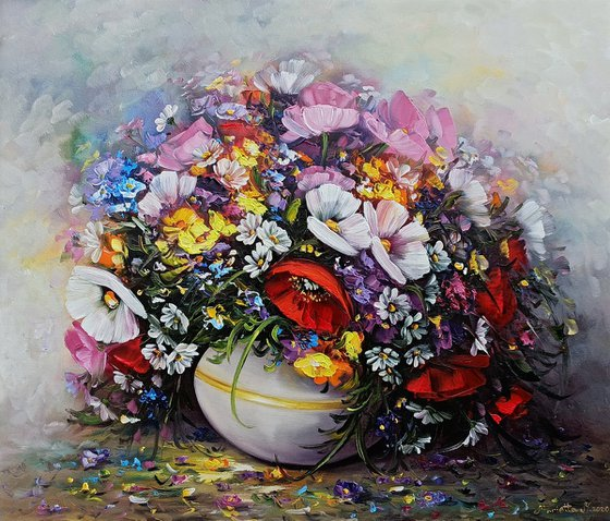 Colorful Wild flowers, 60x70cm, oil painting, palette knife, ready to hang, colorful flowers, floral art