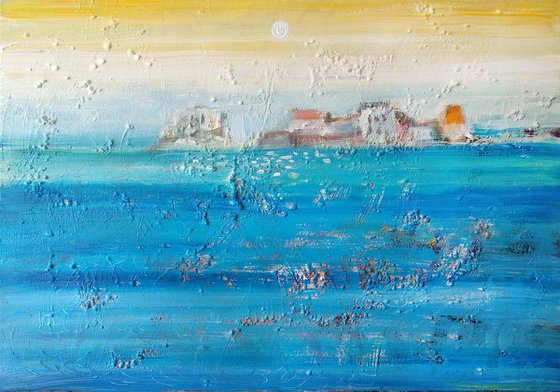 """Town by the sea (40x60 cm, 15,75""""x23,6"""" acrylic, stretched canvas)"""