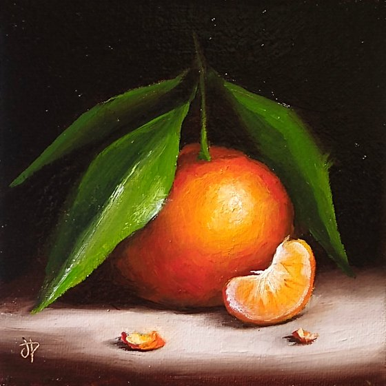 Small Clementine with segment still life