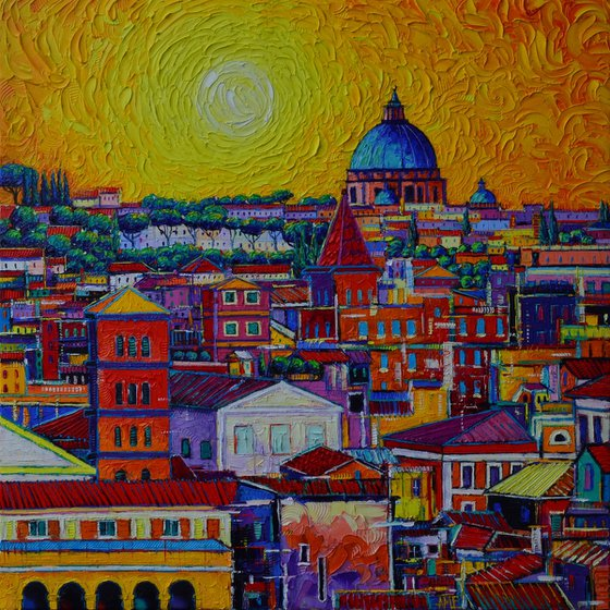 ROME SKYLINE FROM ORANGE GARDEN abstract cityscape sunset textural impressionist impasto palette knife oil painting by Ana Maria Edulescu