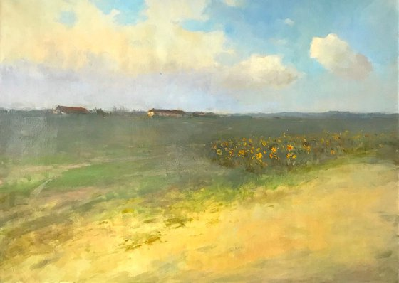 Meadow, Landscape,  Original oil Painting, Handmade artwork, Signed, One of a Kind