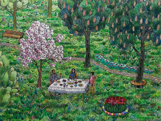 Tea party under a blossoming apple tree by Gala Sobol