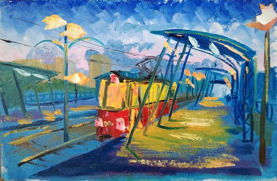 Evening tram. Pleinair painting